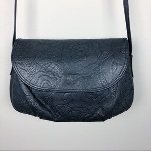 Vintage Rose Embossed Crossbody Navy Handbag